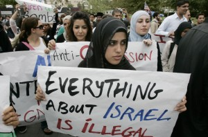 "After a speech at UCI sponsered by the Muslim Student Union entitled ""Israel: The Fourth Reich,"" more than 100 Muslim students marched around campus, shouting anti–Israeli and pro–Palestinian statements. (Photo by Mark Boster/Los Angeles Times via Getty Images)"